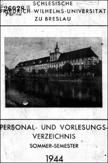 Personal- und Vorlesungs-Verzeichnis Sommer-Semester 1944
