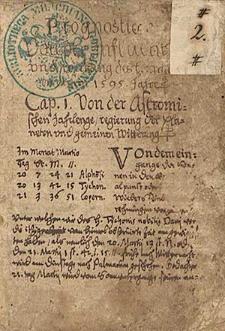 Kalendarze i prognostyki na lata 1595-1601