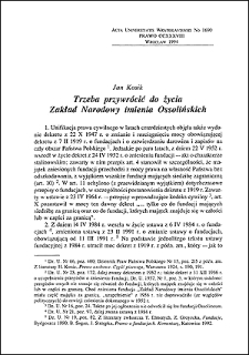 Trzeba przywrócić do życia Zakład Narodowy imienia Ossolińskich