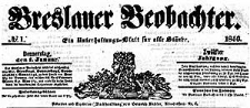 Breslauer Beobachter. Ein Unterhaltungs-Blatt für alle Stände. 1846-10-20 Jg. 12 Nr 168