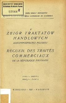 Zbiór traktatów handlowych Rzeczypospolitej Polskiej. T. 1, z. 2