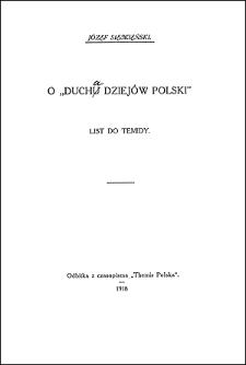"""O """"duchu dziejów Polski"""" : list do Temidy"""