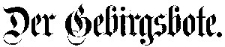 Der Gebirgsbote 1892-01-01 Jg.44 Nr 1