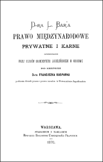 D-ra L. Bar'a prawo międzynarodowe prywatne i karne