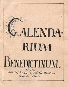 Calendarium Benedictinum