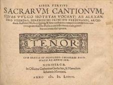 Liber tertius sacrarum cantionum, (quas vulgo motetas vocant) [...]