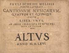 Pauli Schedii Melissi poetae laureati Cantionum musicarum, quatuor et quinque vocum liber unus. Ab amico collectus, et nunc primum in lucem editus.