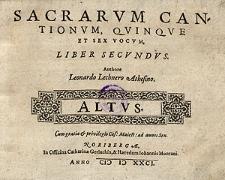 Sacrarum cantionum, quinque et sex vocum, liber secundus [...] Altus