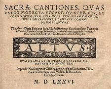 Sacrae cantiones, quas vulgo motecta vocant, quinque, sex, et octo vocum [...] Altus
