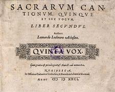 Sacrarum cantionum, quinque et sex vocum, liber secundus [...] Quinta vox
