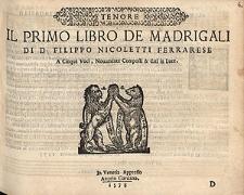 Il primo libro de madrigali di D. Filippo Nicoletti Ferrarese a cinque voci [...] / Tenor