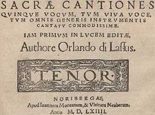 Sacae cantiones quinque vocum, tum viva voce, tum omnis generis instrumentis cantatu commodissiae [...] Tenor