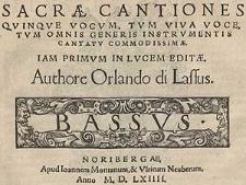 Sacae cantiones quinque vocum, tum viva voce, tum omnis generis instrumentis cantatu commodissiae [...] Bassus