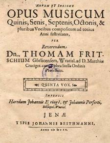 Novum et insigne opus musicum quinis, senis, septenis, octonis, et pluribus vocibuus [...] Quinta vox