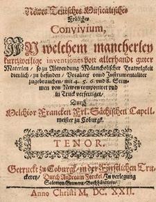 Newes teutsches musicalisches fröliches Convivium, in welchem mancherley kurtzweilige Inventiones [...]