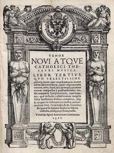 Novi atque catolici thesauri musici. Liber tertius [...]