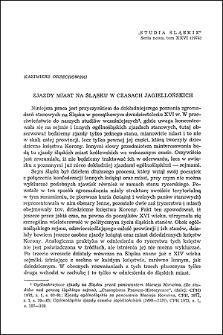 Zjazdy miast na Śląsku w czasach jagiellońskich