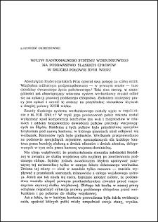 Wpływ kantonalnego systemu werbunkowego na poddaństwo śląskich chłopów w drugiej połowie XVIII wieku