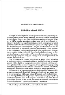 O śląskich sejmach 1527 r.