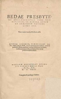 Bedae Presbyteri Anglosaxonis [...] De Natvra Rervm Et Temporvm Ratione Libri Dvo.