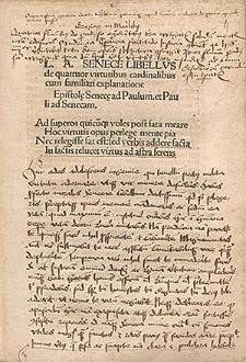 De quattuor virtutibus cardinalibus ; Epistolae ad Paulum et Pauli ad Senecam, Lat.