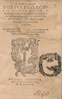 Tabvlae Totivs Dialectices : Aliarvm Artivm Instrvmenti præcepta vtilißima breuiter complectentes / ordine perspicuo digestæ a Cornelio Valerio [...].