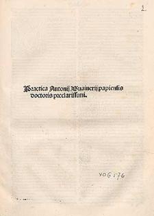 Practica Antonij Guainerij papiensis doctoris preclarissimi