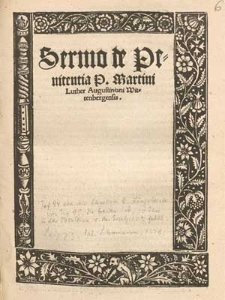 Sermo de Penitentia P. Martini Luther Augustiniani Wittenbergensis