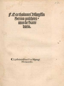 F. Bartholomei Vsinge[n]sis Sermo pulcherrimus de Sacerdotio