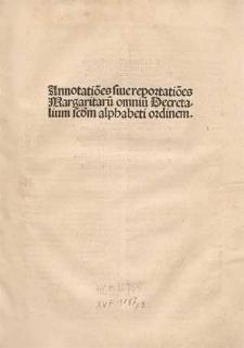 Annotationes Margaritarum Decretalium / Ed. Sebastianus Brant.