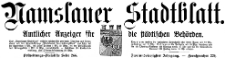 Namslauer Stadtblatt. Zeitschrift für Tagesgeschichte und Unterhaltung 1919-11-29 Jg. 47 Nr 139
