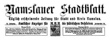 Namslauer Stadtblatt. Täglich erscheinende Zeitung für Stadt und Kreis Namslau. Amtlicher Anzeiger für die städtischen Behörden. 1924-10-31 Jg.52 Nr 180