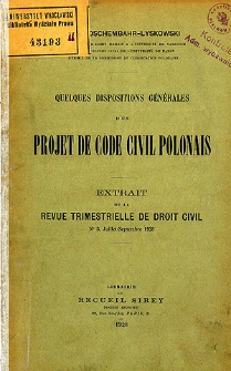 Quelques dispositions générales d'un projet de code civil polonais