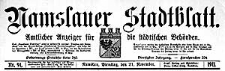 Namslauer Stadtblatt. Amtlicher Anzeiger für die städtischen Behörden. 1911-10-03 Jg.40 Nr 77