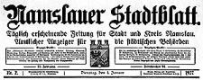 Namslauer Stadtblatt. Täglich erscheinende Zeitung für Stadt und Kreis Namslau. Amtlicher Anzeiger für die städtischen Behörden 1927-01-09 Jg.55 Nr 7