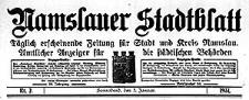 Namslauer Stadtblatt. Täglich erscheinende Zeitung für Stadt und Kreis Namslau. Amtlicher Anzeiger für die städtischen Behörden 1931-01-01 Jg.59 Nr 1