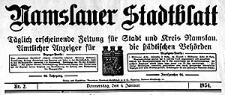 Namslauer Stadtblatt. Täglich erscheinende Zeitung für Stadt und Kreis Namslau. Amtlicher Anzeiger für die städtischen Behörden 1934-01-09 Jg.62 Nr 6