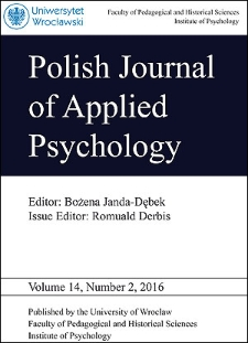 Polish Journal of Applied Psychology Volume 14, Number 2, 2016