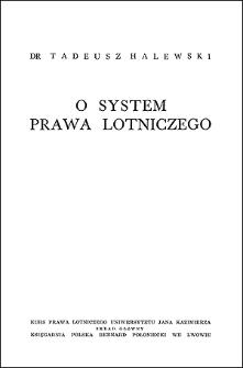 O system prawa lotniczego