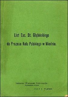 List Exc. St. Głąbińskiego do prezesa Koła Polskiego w Wiedniu