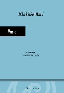 Acta Erasmiana. Varia