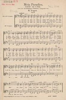 Mein Paradies [...] Lied für dreistimmigen Schulchor [...] Op. 14