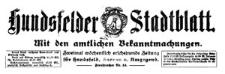 Hundsfelder Stadtblatt. Mit den amtlichen Bekanntmachungen 1927-08-31 [Jg. 23] Nr 70