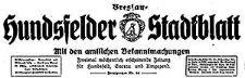 Hundsfelder Stadtblatt. Mit den amtlichen Bekanntmachungen 1930-01-29 Jg. 26 Nr 9