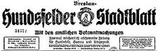 Hundsfelder Stadtblatt. Mit den amtlichen Bekanntmachungen 1937-10-23 Jg. 33 Nr 85