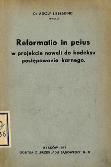Reformatio in peius w projekcie noweli do kodeksu postępowania karnego