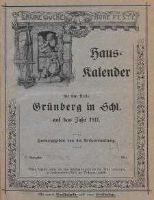 Hauskalender für den Kreis Grünberg in Schl. auf das Jahr 1911, 1. Ausgabe