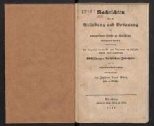 Nachrichten über die Gründung und Erbauung der evangelischen Kirche zu Metschkau, Striegauer Kreises