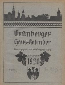 Grünberger Haus-Kalender 10. Ausgabe 1920
