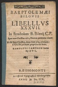 Barptolemæi Bilovii Libellvs XXXVII.